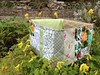 Green Patchwork Scrap Box by Pretty Flowers in the Window