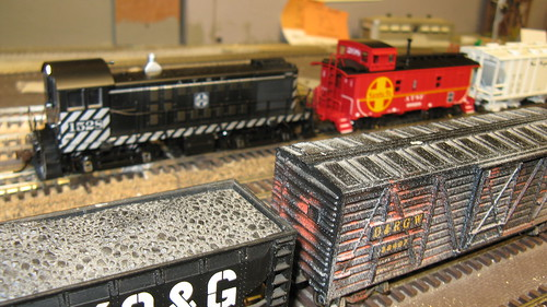 1967 era Santa Fe switching local passing through Bridgeport Yard on the club layout. by Eddie from Chicago