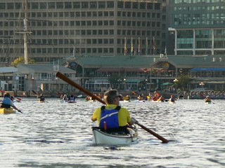 Paddlers head into the Inner Harbor