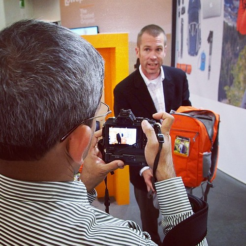 Tim Grimmer demos the Photo Hatchback for a video  recorded interview. #photokina #lowepro