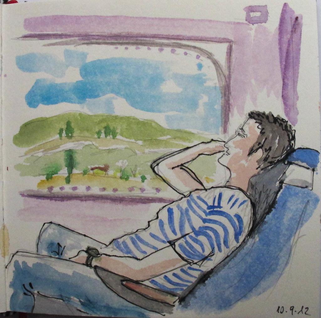 Viajero en el tren (Bcn-Bilbao)