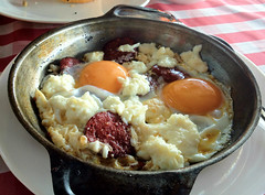 Turkish sausage, eggs, and feta at Cafe Nar