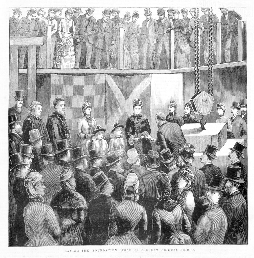 Laying the foundation stone of the new Prince's Bridge. Publisher: Melbourne David Syme and Company, 18 September 1886, State Library of Victoria