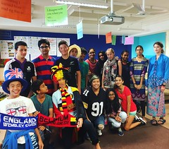 Celebrating UWC day today. Kids wore colors of their flags, sports teams shirts, national dress. #uwcsea_east #steelers #greene #8PGu
