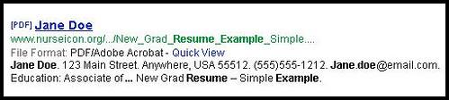 jane doe resume