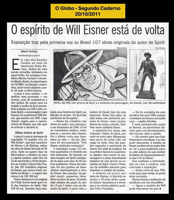 """""""O espírito de Will Eisner está de Volta"""" - O Globo - 20/10/2011"""