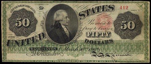 1862 $50 Legal Tender Note front