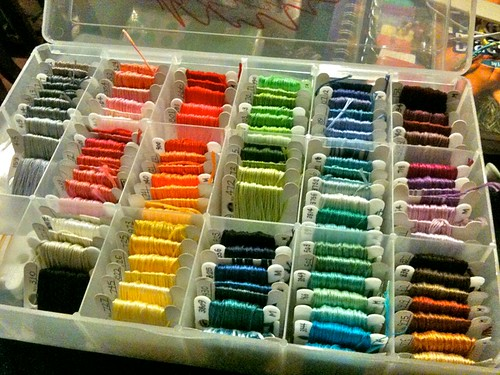 a rainbow of embroidery floss