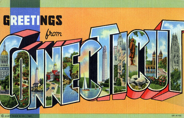 Greetings From Connecticut Large Letter Postcard
