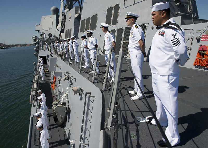 LOS ANGELES - Sailors aboard the Arleigh Burke-class guided-missile destroyer USS Wayne E. Meyer (DDG 108) man the rails during Navy Days L.A. 2012.