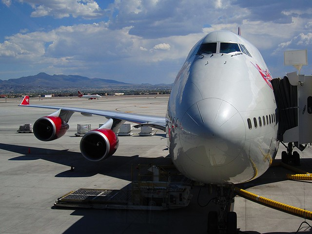 Virgin Atlantic Boeing 747 Non-Stop to London -- New Terminal 3 (E-Gates) -- McCarran International Airport -- Las Vegas 2012