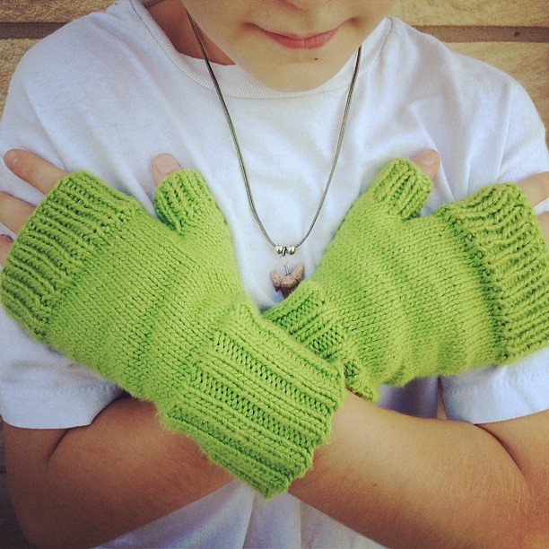 Day 66: They were a day late, but Skyler loves his gloves! #knitting #whatimade