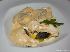 Escargot-filled ravioli