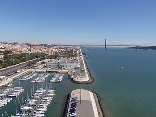 "Lisbon - Tagus River - View from Monument to the Discoveries - Marina and ""25th of April"" Bridge"