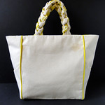 Piped + Pocketed Canvas Tote Bag DIY Tutorial by Fabric Paper Glue