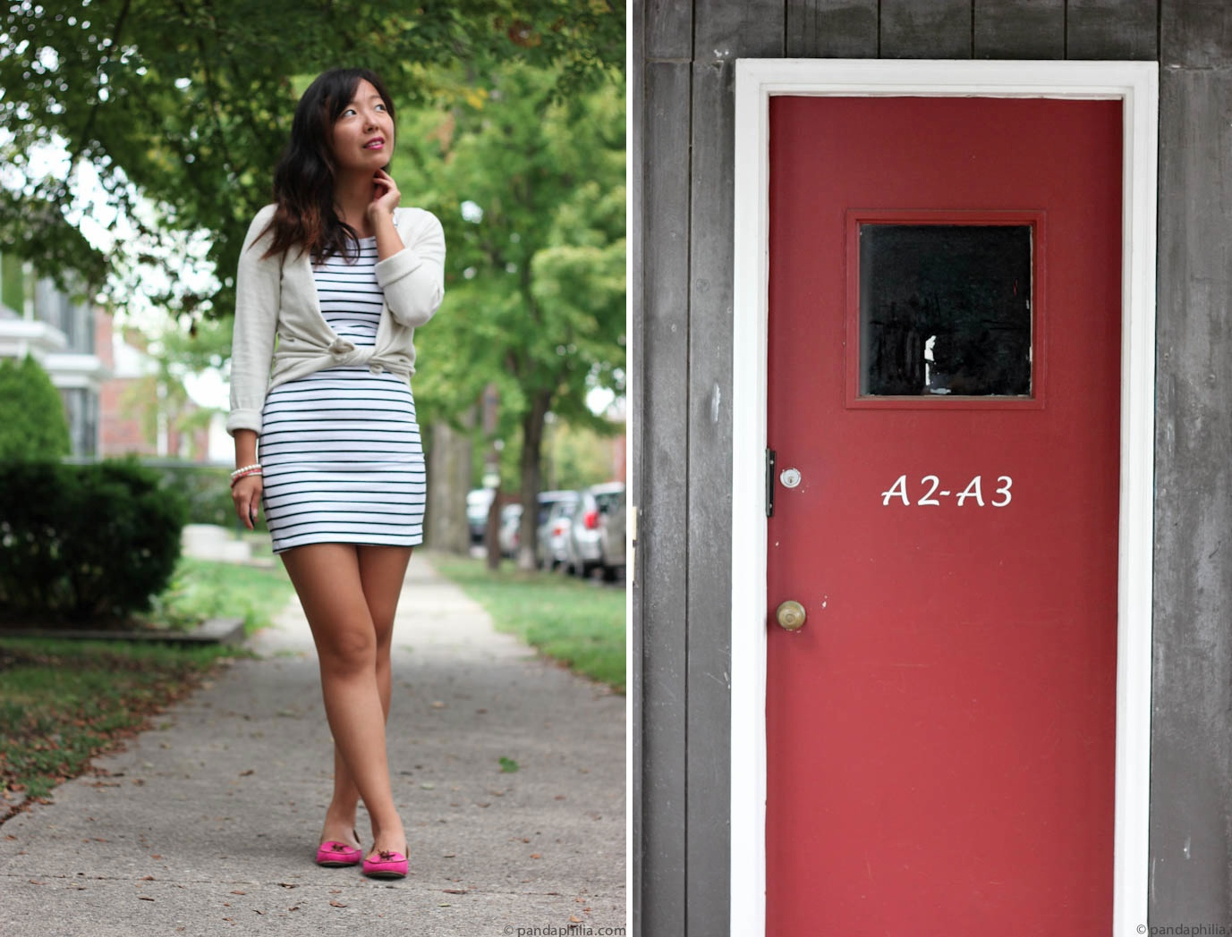 striped dress and red door