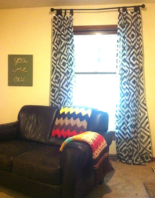 Hand stenciled curtains