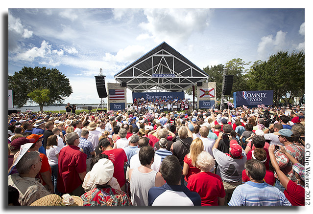 attentive crowd watches and photographs Paul Ryan in Oldsmar on Sept. 15