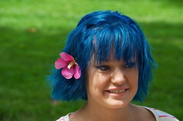 The girl with blue hair