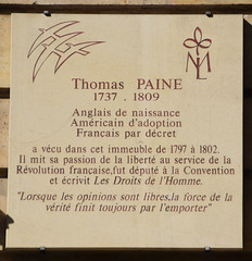 Photo of Thomas Paine white plaque