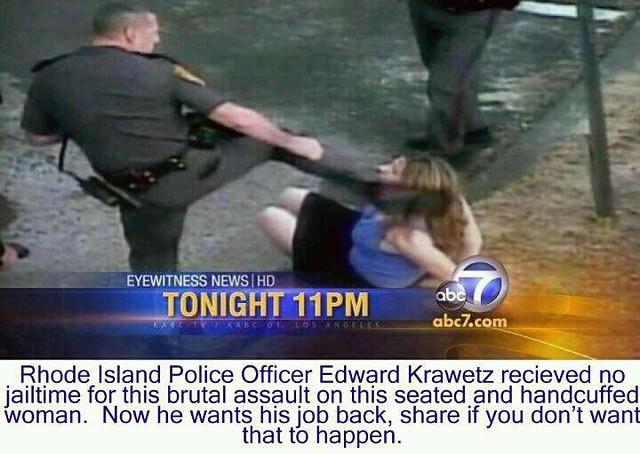 Cop kicks woman