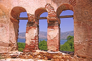Macedonia,  St Achileios islet, byzantine basilica ruins, lake Small Prespa, Florina, Greece