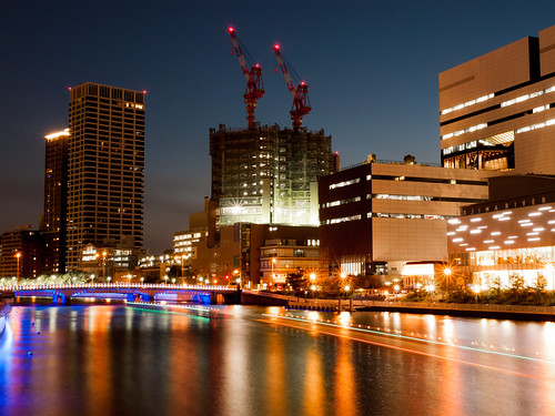 bridge light reflection building japan architecture night river lumix landscapes ship osaka nightview gf2