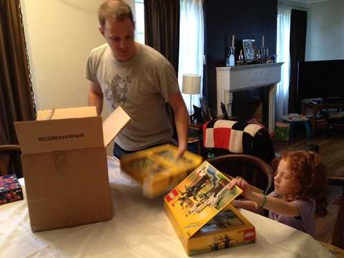 Busting out all of Daddy's Legos. I think Matt has waited for this moment for a decade at least. #lego