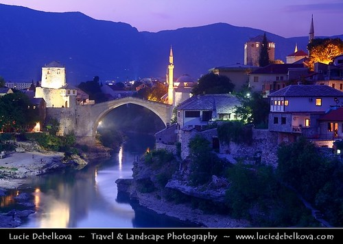 Bosnia and Herzegovina - Mostar on Neretva River - Old Bridge Area of the Old City of Mostar - UNESCO World Heritage site - Dusk - Twilight - Blue Hour - Night