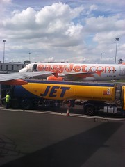 Easyjet aircraft and Jet Tanker