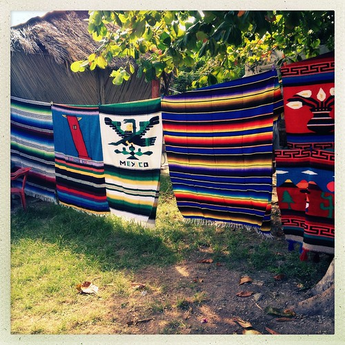 Blankets and handicrafts for sale in Puerto Morales