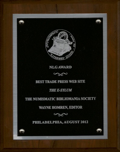 E-Sylum 2012 NLG award plaque