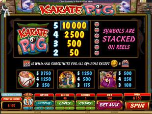 Karate Pig Slots Payout