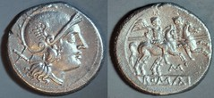 RRC 051/1 M Roma Dioscuri  Denarius Rome 214-208BC. Extremely rare, missing from Ahala collection.