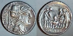 HN Italy-425 Denarius Social War, Mars, Oath scene 4 soldiers boy, pig, Italic legend VITELIIU, C.PAAPII.C. C.Papius C.F. Mutilus. Campana 83ff. Samnium 90-87BC.