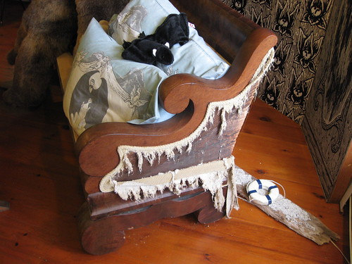 "Gorey's couch, as ""destroyed"" by his cats"
