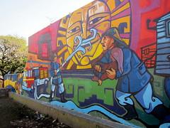 Buenos Aires - La Boca: Plazoleta Bomberos Voluntarios mural