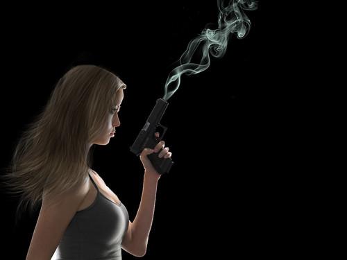 [フリー画像素材] 人物, 女性, 人物 - 横顔・横を向く, 銃 ID:201208302200