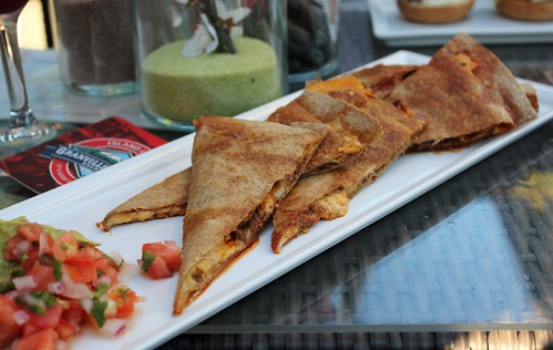 Beef quesadilla ($11) 14  Grilled beef, cheddar cheese, homemade pico de gallo  Guacamole