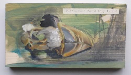 Puffin Head found Tory Island,oil on wood, 17 x 9 x 3cm, 2012