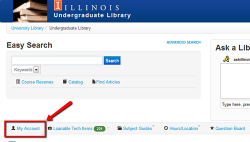 The My Account link is located in the center menu of the UGL homepage.