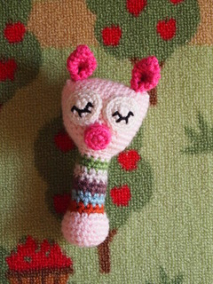 Sleepy Piggy Baby Rattle