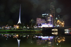 Arts Centre in Melbourne by night.