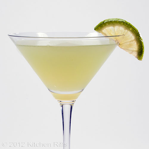 Last Word Cocktail with Lime Garnish, White Background