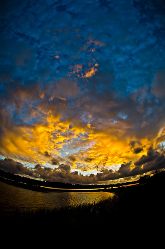 blue sunset sky orange reflection water clouds evening bay nikon gulf florida salt fisheye goodnight parker panamacity afb tyndallairforcebase bonitabay d7000