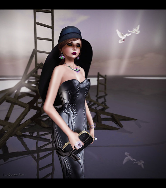 C88 August - V.e. Baroque Shell Dress - Charcoals & L'accessoire - Glam Affiar - Lisanna Hat