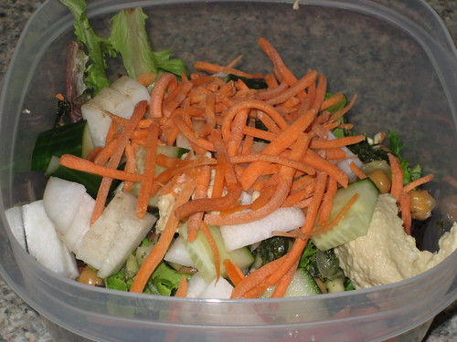IMG_5748 Lunch Salad with Mediterranean Crunch and hummus