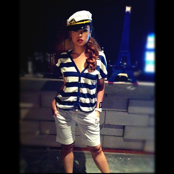 My first set of sailor outfit by SEED at last night's fashion show. #model #fashion #catwalk #french #kronenbourg #ootd #lookoftheday