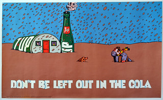 """1971 60""""x36"""" 7Up UnCola """"Don't Be Left Out In The Cola"""" vintage poster by Milton Glaser (Push Pin Studios era) #7Upvintage"""