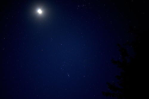 La lune, Jupiter et Orion.